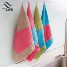 TTLIFE Hanging type microfiber mixed-color gloves rag Wipe window cleaning glass cloth washing Thickened kitchen towel