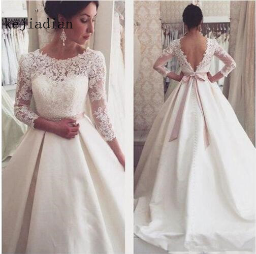 Vestido De Novia 2018 White/ivory Wedding Dress 3/4 Sleeve Satin v black Bridal Gown wedding gown Robe De Mariee