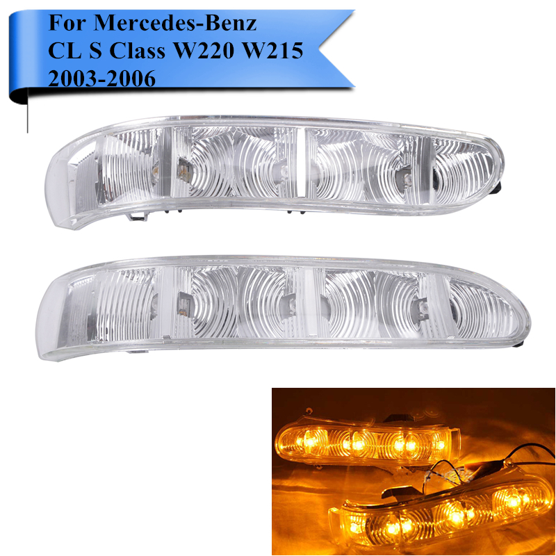 2X LED Side Door Mirror Turn Signal Light Indicator For Mercedes Benz MB W215 CL55 CL65 CL500 CL600 W220 S55 S65 AMG S350 #W091 dwcx 2x rear view side mirror turn signal light for toyota rav4 audi a6 mercedes benz b class bmw f30 vw kia rio nissan qashqai