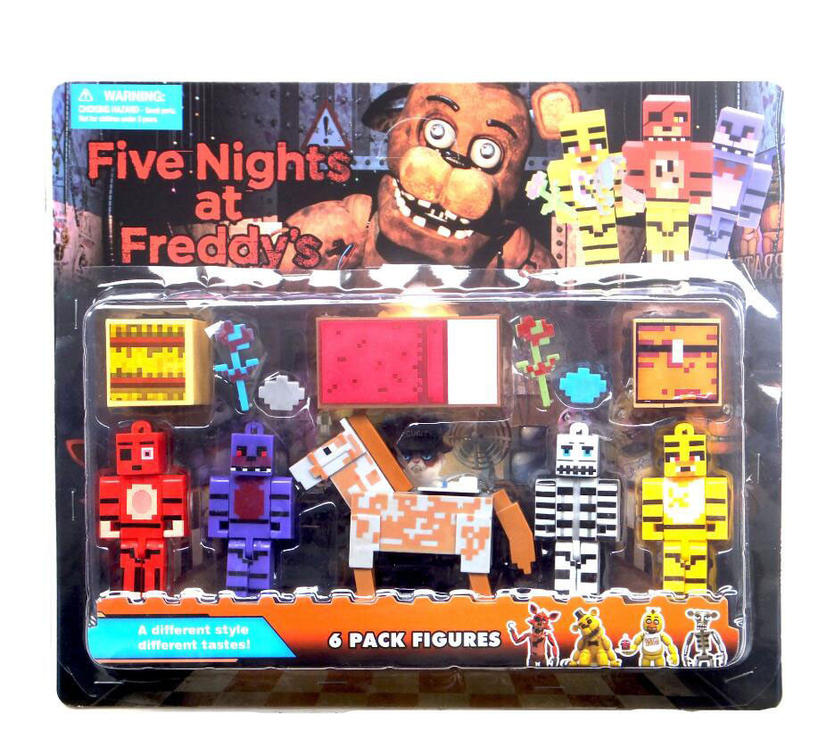OPP Bag 5pcs/set Minecraft Five Nights At Freddy's 4 FNAF Foxy Chica Bonnie Freddy Action Figures Children Toy Christmas Gifts