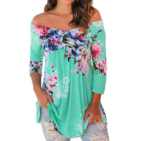 Plus Large Size 3XL Women Blouse Shirts Slash Neck Loose Casual Floral Tops Half Sleeve Bohemian