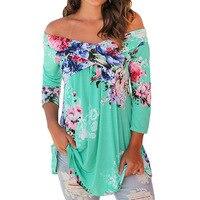 Plus Large Size 3XL Women Blouse Shirts Slash Neck Loose Casual Floral Tops Half Sleeve Bohemian Style Beach Blusa Tunic WS1402T