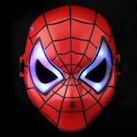 Halloween Mask Children S Cartoon Mask Spider Man Toy Glow With Lamp Spiderman Mask HB88