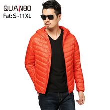 Fat Plus size 8XL 9XL 10XL 11XL Top Quality Ultra Light Down Jacket 90 White Duck Down Warm Hooded Men Portable Jacket Coat cheap QUANBO STANDARD YSL01 Wide-waisted Casual zipper Full Solid Broadcloth NONE NYLON REGULAR 150g-200g 0 3-0 6 Black Wine red Navy blue Gray Orange Royal blue