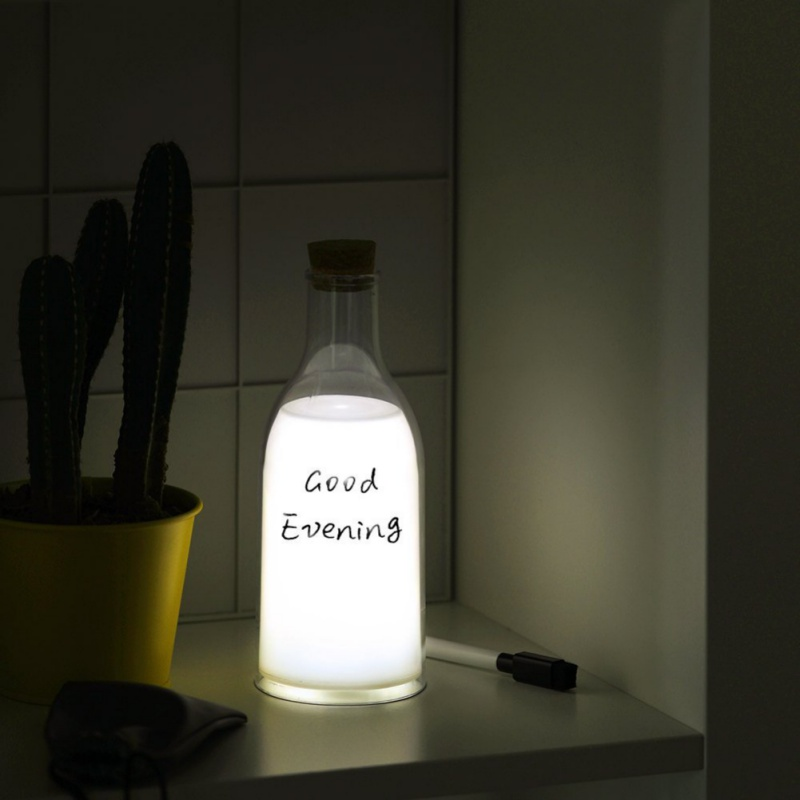 2018 New Children Girl Friend Gift Milk Bottle Lamp With Sleeping Message Lamp Warm White Bedroom Mark Pen Remind Bottom