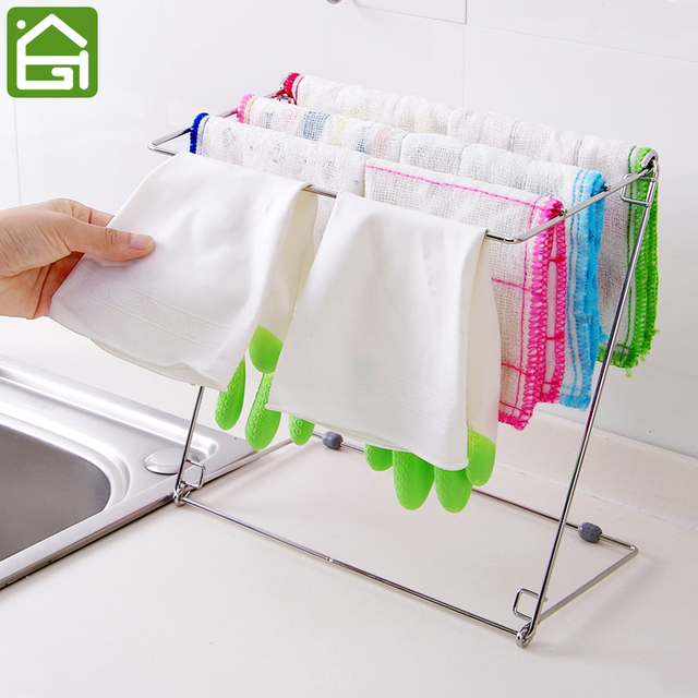Stainless Steel Folding Towel Stand Rack 4 Layers Kitchen Washing