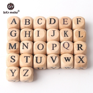 Image 3 - Lets Make Wholesale 500PCS 12mm Square Shape Beech Wood 26 Letter Beads Teething DIY Jewelry Necklace Beads Baby Teethers