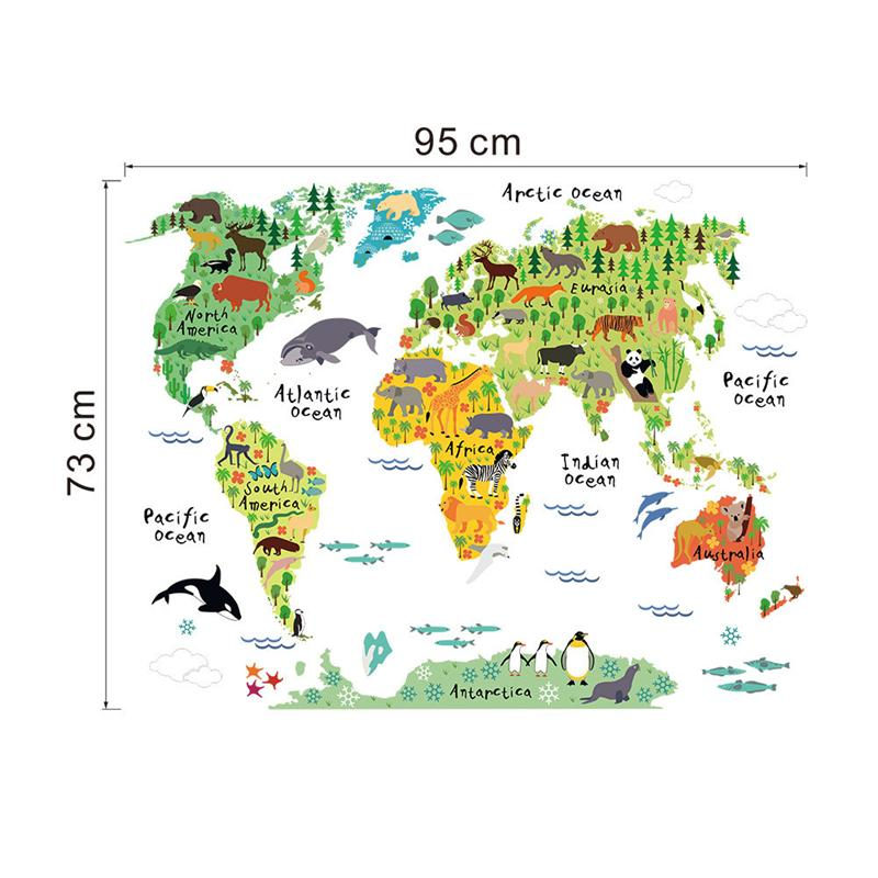 world map animals wall stickers room decorations cartoon mural art ...
