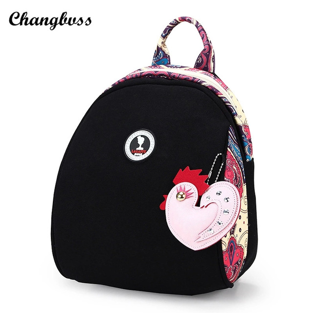 02c26788ab Color Blocking Style Women Travel Backpack Parent-child Girls Mini Canvas  Backpacks Ladies Cute Rucksacks With Little Pendant