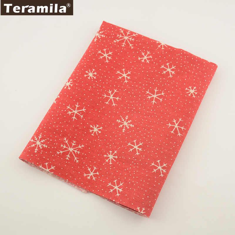 TERAMILA Printed Red snowflakes Home Textile Cotton Linen Fabric Sewing Tablecloth Pillow Bag Curtain Cushion Pillow Zakka