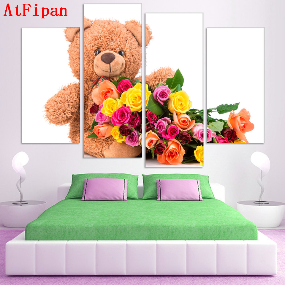 Online coloring room - Atfipan 4pcs Wall Art Modular Pictures Colorful Polar Bear And Flower Wall Pictures For Living Room