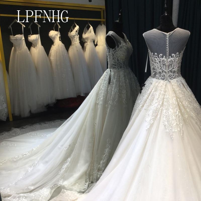 Vestidos de novia de encaje 2018 Scoop cuello alto sin mangas botón - Vestidos de novia