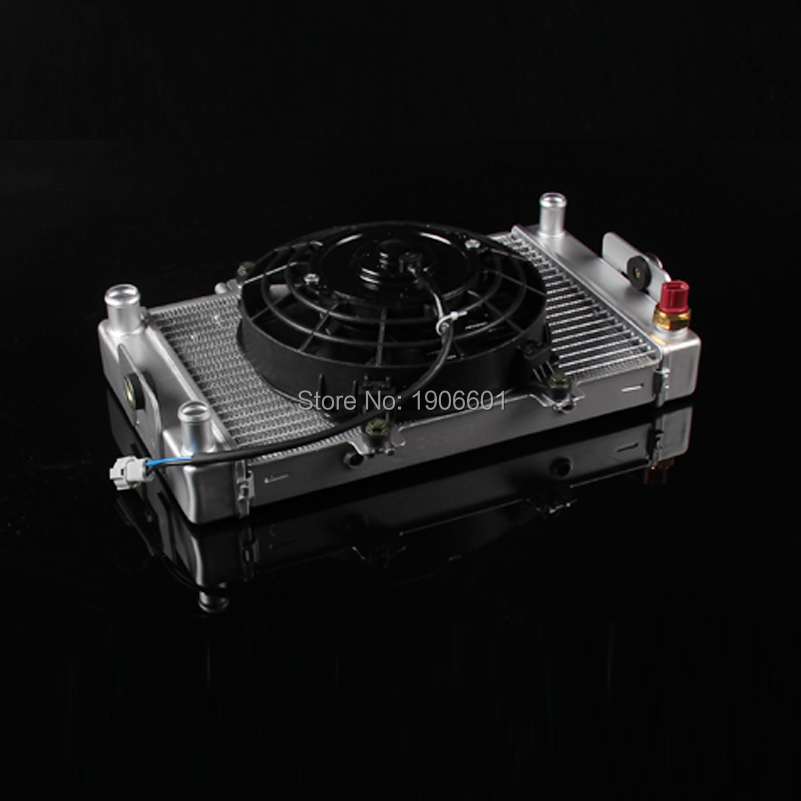 high quality linhai aluminium radiator oil cooler with cooling fan thermstat atv utv buggy go kart parts accessories hot sales good quality cooling fan oil cooler water cooler radiator cooling fan for atv quad go kart buggy dirt pit bike fs 003