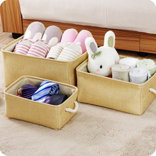Plain Linen Fabric With Large Storage Basket Handle Wardrobe Clothes Toy Box 3pcs/lot Small Middle