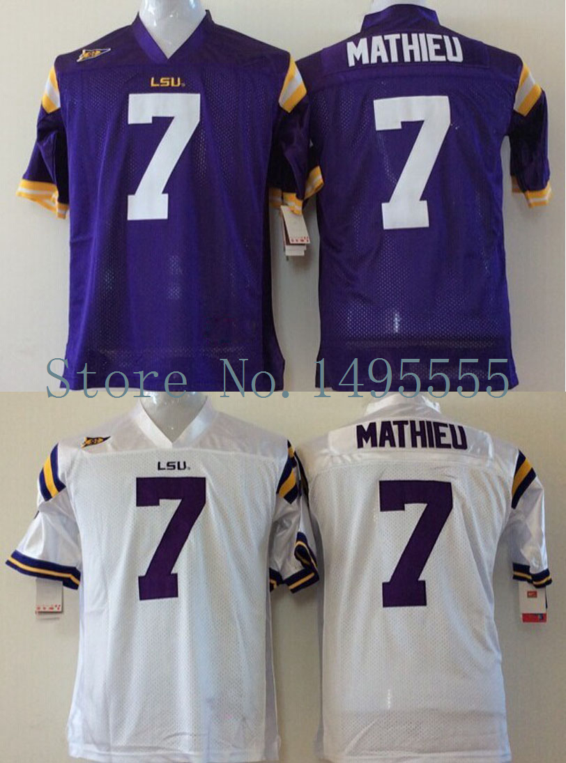 26736d173 ... Online Shop Cheap Price Tyrann Mathieu Jersey LSU Tigers 7 American College  Football Jerseys Authentic Double ...