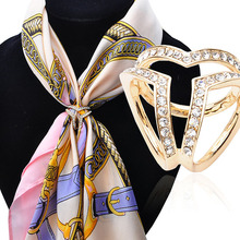 UALGL Fashion Crystal Scarf Brooch Channel Brooch Scarf Clips Lapel Pins Brooches For Women Clothing Decoration Elegant Jewelry