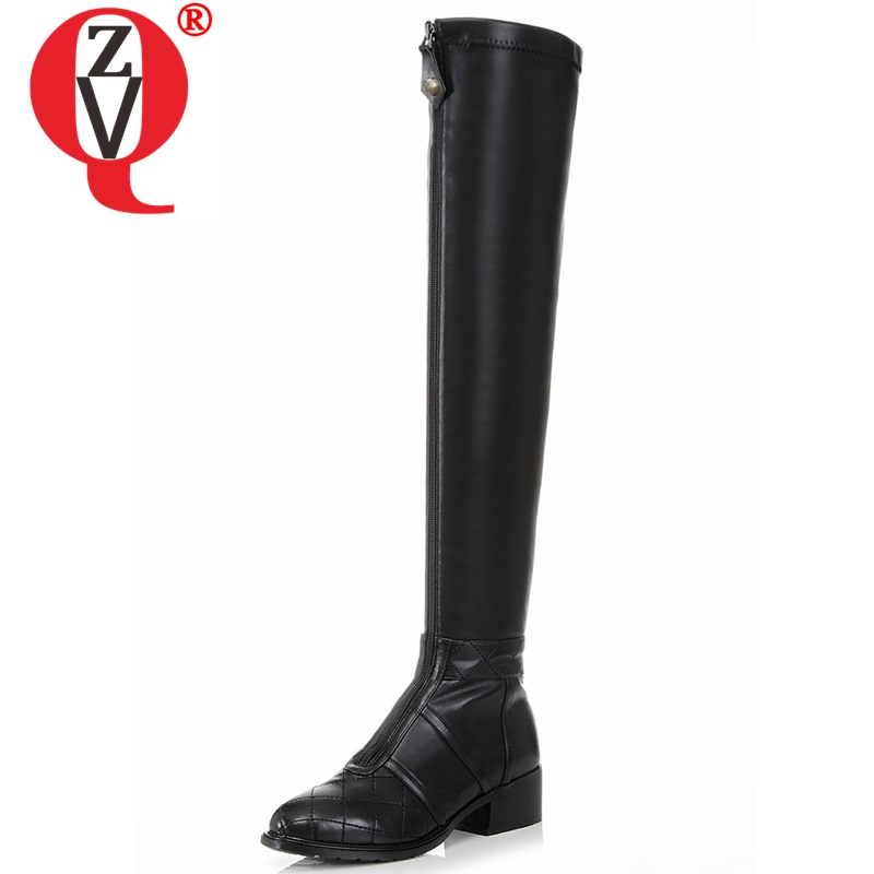 ZVQ Fashion brand ladies real cow leather motorcycle boots 2019 spring autumn Punk Gingham woman Over-the-Knee low heels shoesZVQ Fashion brand ladies real cow leather motorcycle boots 2019 spring autumn Punk Gingham woman Over-the-Knee low heels shoes