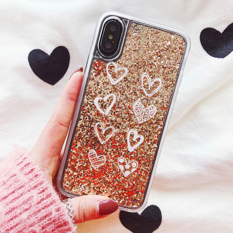 55187512e75 Abstract Heart Dynamic Liquid Quicksand Case for iPhone 5 5S 6 6 S 8 Plus X  Soft