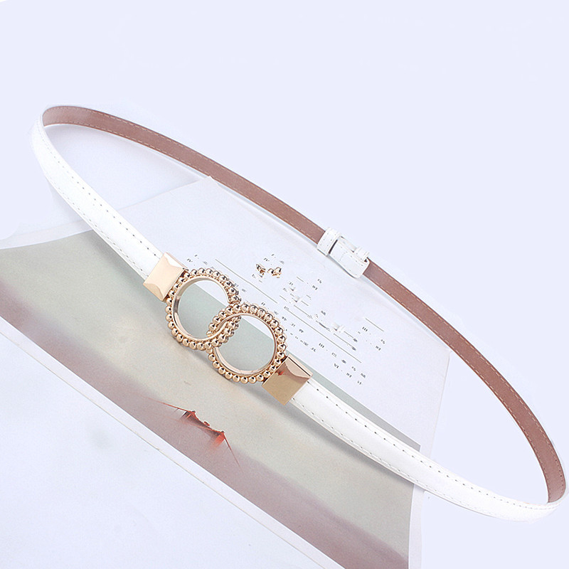 Hot Sale Fashion Adjustable Women Waist Leather   Belt   Golden Round Buckle Girdle for Dresses Female Ladies Waistband Straps White