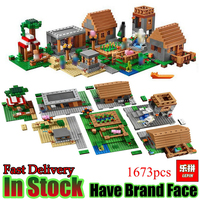LEPIN My Worlds Game 1673pcs Minecraft Village House Set Model building blocks Bricks Figures kits toys for children