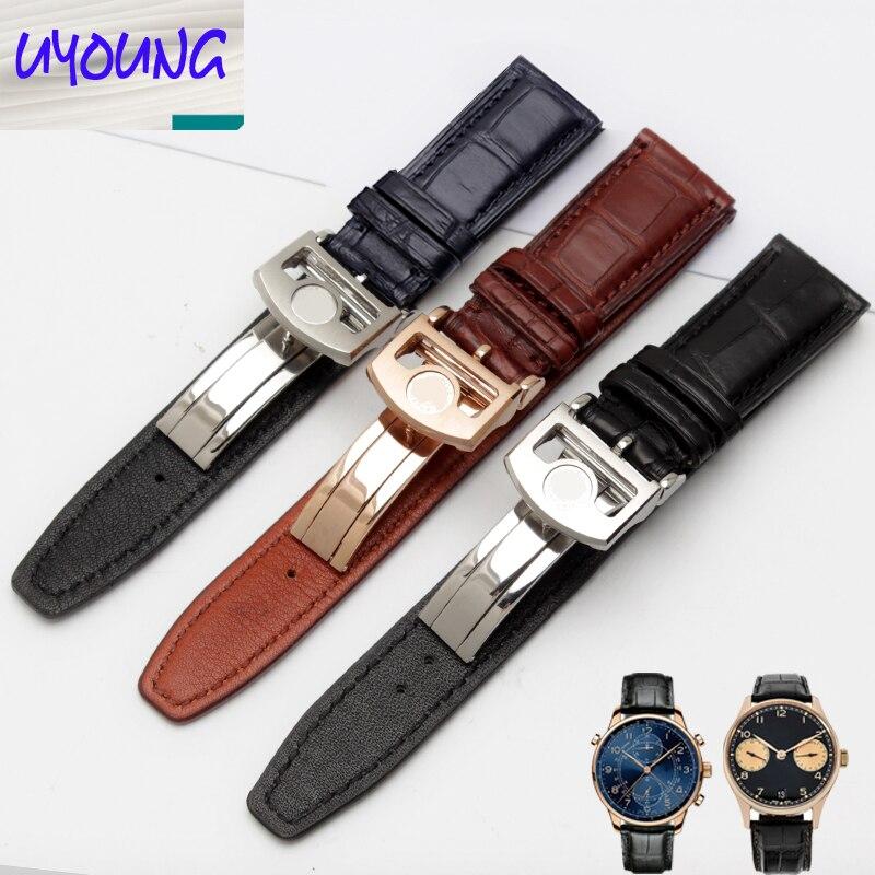 Uyoung bracelet de montre bracelet Alligator Adaptation iw371446 20mm + peau de crocodile naturel outils gratuits