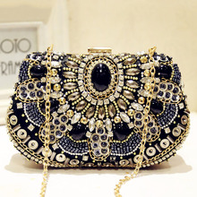Rhinestones Black Luxury Clutch Bag Diamonds Beaded Metal Evening Bags Chain Shoulder Messenger Purse Evening Bags For Wedding new pearls clutch bag white evening bags beaded women shoulder bags wedding party purse diamonds clutch bag