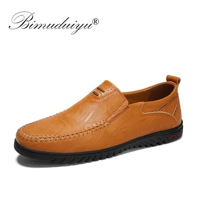 BIMUDUIYU Lente Italiaanse Heren Schoenen Casual Merken Lederen Mannen Loafers Mocassins Ademend Slip Op Boot Schoenen Grote Maat