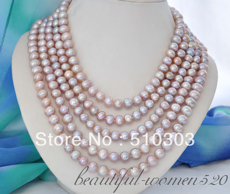 long 10 mm lavender round freshwater pearl necklace 100inch