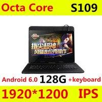 S109 4 גרם LTE אנדרואיד 6.0 10.1 inch tablet pc אוקטה core 4 GB RAM 128 GB ROM + מקלדת IPS טבליות smartphone מחשב MT8752