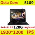 S109 4G LTE Android 6.0 10.1 polegada tablet pc octa núcleo 4 GB RAM 128 GB ROM + Teclado IPS Tablets smartphone computador MT8752