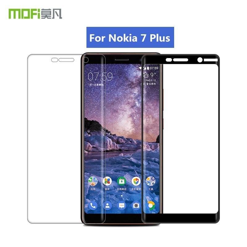 Pour Nokia 7 Plus Verre Trempé MOFi 3D Pleine Couverture De Protection Film Écran Protecteur pour Nokia7 Plus Trempé Verre Film 6.0 pouce