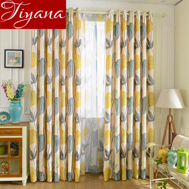 rustic curtains leaves print sheer voile curtinas window modern