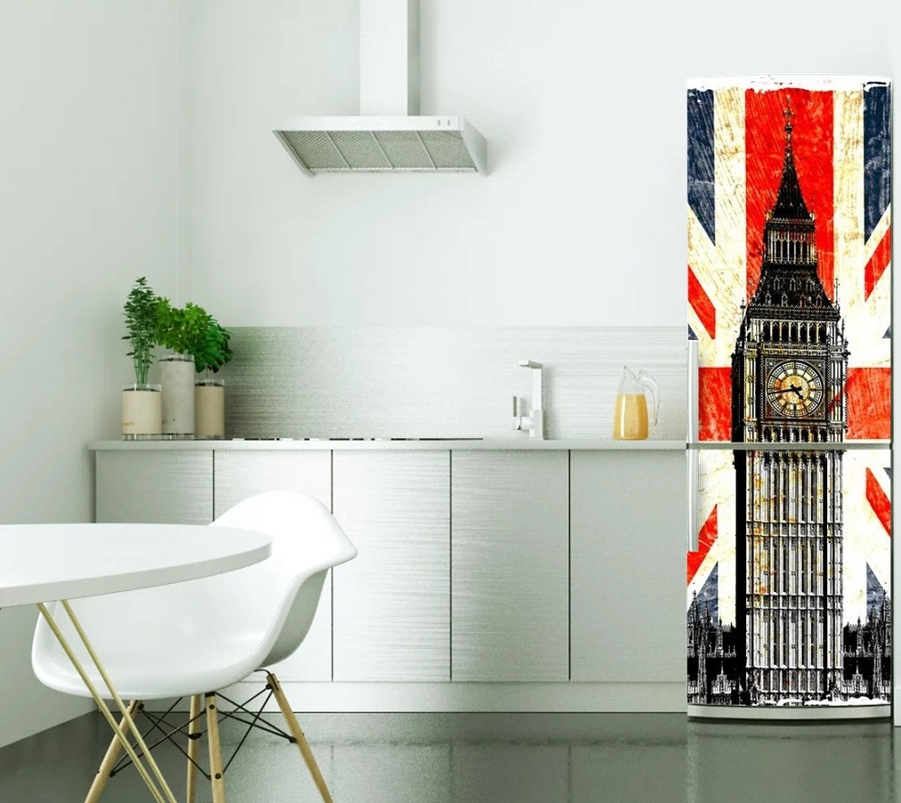 DIY modern UK flag big ben Waterproof SelfAdhesive Refrigerator ...