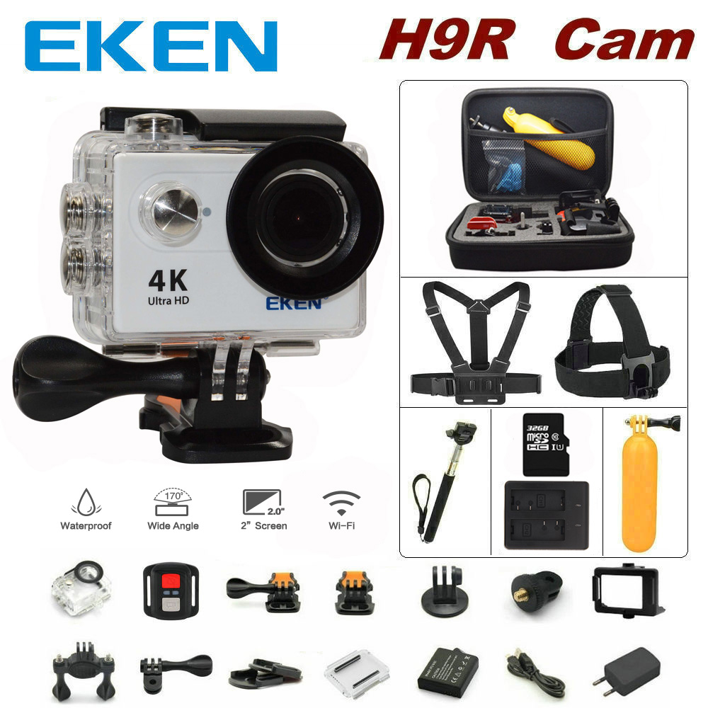 100% Original EKEN H9R remote control sport camera 4K wifi Ultra HD 1080p 60fps 170D waterproof camera sports mini cam battery dual charger bag action camera eken h9 h9r 4k ultra hd sports cam 1080p 60fps 4 k 170d pro waterproof go remote camera