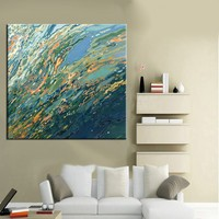 New Design Wholesale Unique Design High Quality Handmade Living Room Abstract Sea Oil Painting On Canvas