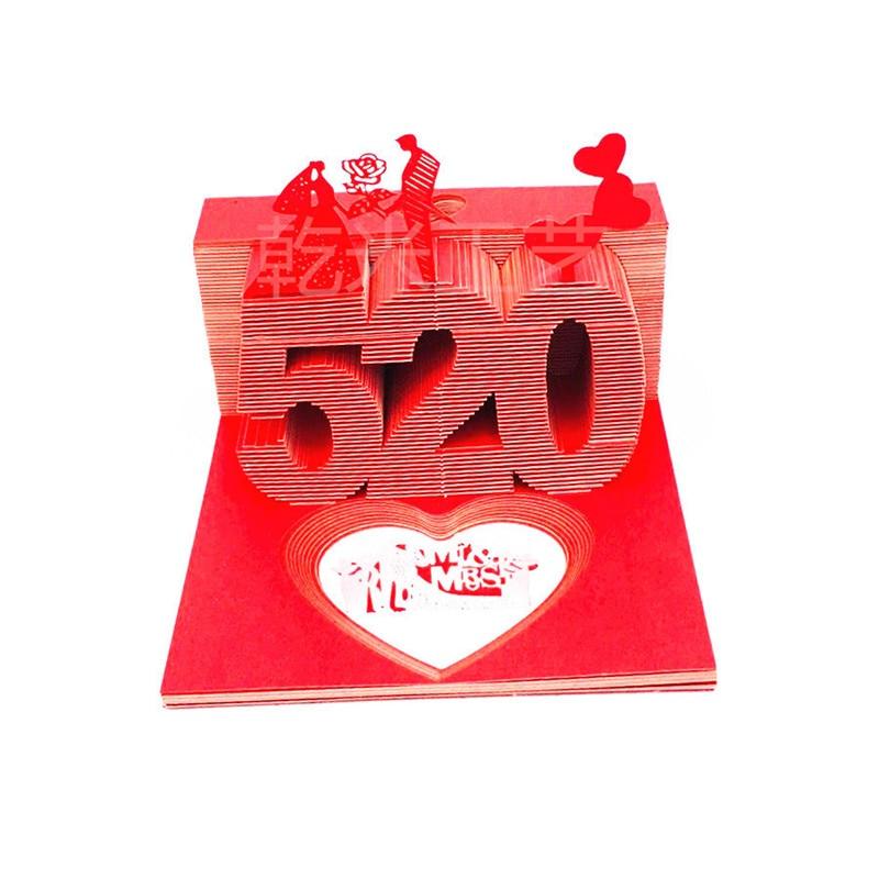 Je t'aime saint valentin en forme de coeur Notes collantes 3D en-tête Net rouge réfrigérateur autocollant en trois dimensions modèle petit ou