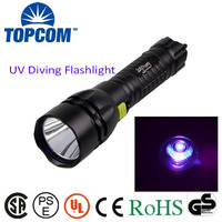 Best UV Diving Flashlight waterproof IP68 365~370nm uv Torch UV diving flashlight/Blacklight UV diving led flashlight