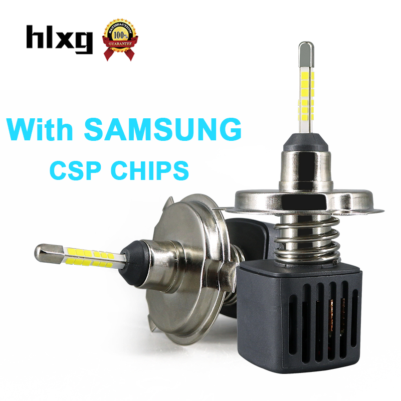 HLXG 2Pcs H4 Hi Lo LED with SAMSUNG CSP Chip Auto Motorcycle Headlight Bulb 10000ML 40W