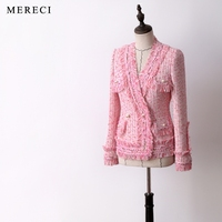 New lay his section in the spring and autumn style and delicate pearl fish powder mei red weave a small sweet wind coat