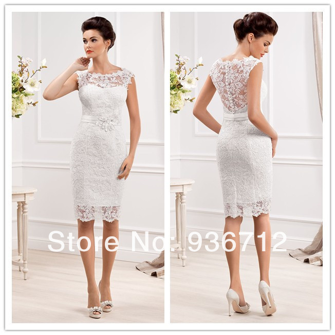 2015 New Designer Elegant Scoop Neckline Sheath Lace Short Wedding Dresses Free Shipping SF01433 In From Weddings Events On Aliexpress