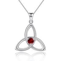 Natural Red Garnet 925 Sterling Silver Irish Knot Pendant Necklace for Women Birthstone Jewelry