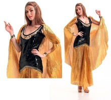 Ensen The cleopatra ancient egypt Queen Long golden dress Carnival font b Cosplay b font Costume