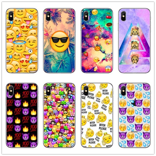 Moda Emoji Smiley Faces Emoticon Claro Caso De Telefone Matte Rubber rígido Capa Para iPhone 4 5 6 7 8 mais X Fundas Coque Capa