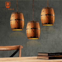 Retro Country Wooden Barrel Pendant Lights Lamp Creative Loft E27 Lighting Fixture Art Decoration for Bar Living Room Cafe