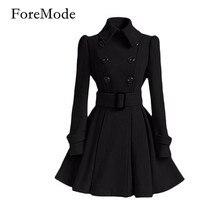 ForeMode 2016 Мода высокое качество Европа Зимнее Пальто Пряжки Ремня Пальто двубортные пальто С Длинным Рукавом Повседневные Платья