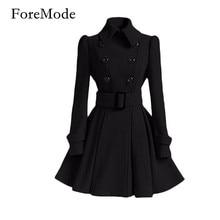 ForeMode Fivela de Cinto de Inverno Mid-Long Trench Coat Casaco Trespassado Manga Longa Vestidos Casuais Longo Casaco para As Mulheres(China (Mainland))