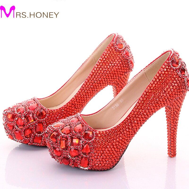 ФОТО Crystal Wedding Shoes Diamond Platform High Heels Nightclub Stage Shoes Wedding Party Bridal Shoes Graduation Prom Shoes