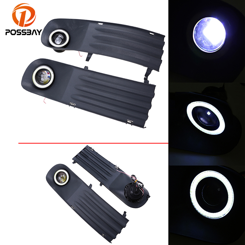 POSSBAY Car Auto Fog Light Foglamp White Angel Eyes Halo Ring for VW T5 2003 2004 2005 2006 2007 2008 2009 Fog Light Grilles цена