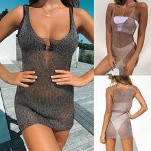 New Sexy Women Lace Crochet Bathing Suit Beach Dress Bikini Cover Up Fishnet Swimwear Women Cover Up Beach Dress
