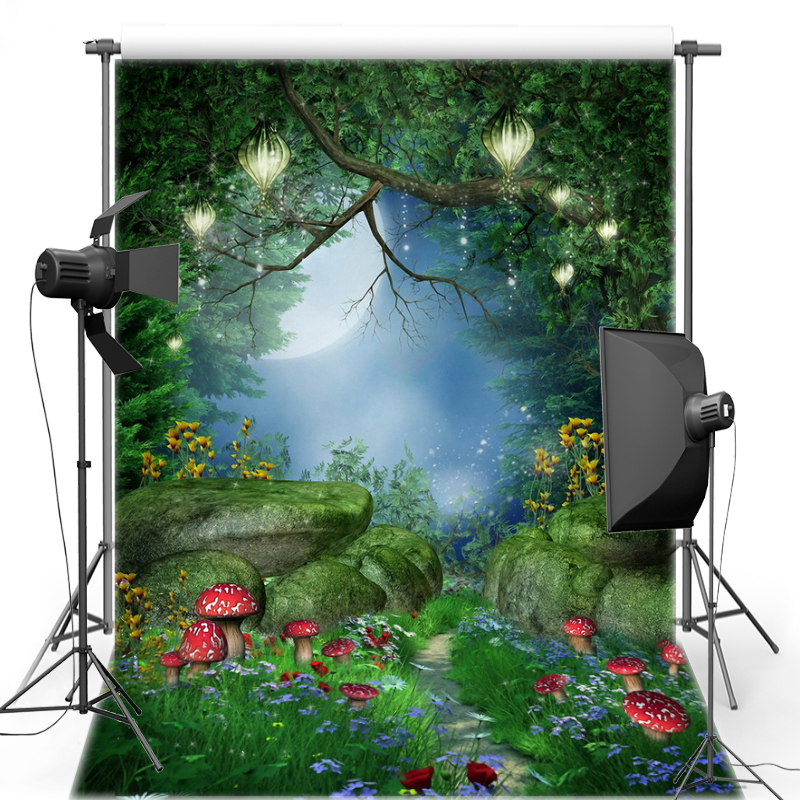 MEHOFOTO Alice in Wonderland Mushroom Vinyl Photography Background Forest New Fabric Flannel backdrop For Photo studio F1627 sensfun background for photos alice in